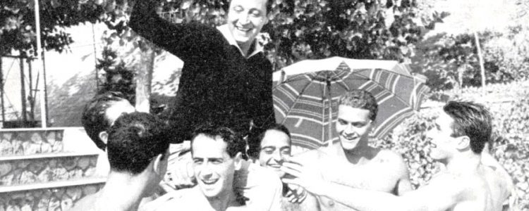Festeggiamenti per lo Scudetto di Pallanuoto del 1956